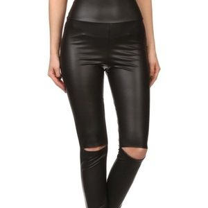NWT Black Faux Leather Split Knee Hi Waist Legging